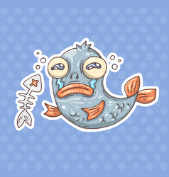 cartoon crying fish vector image