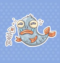 cartoon crying fish vector image