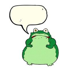 cartoon fat frog with speech bubble vector image vector image