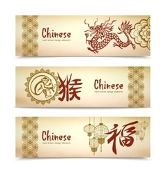 Chinese Horizontal Banners vector image vector image