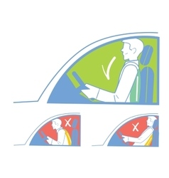 Correct and incorrect position in the car vector image