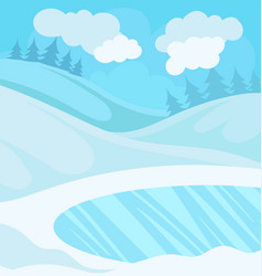 day in winter forest snowy landscape background vector image