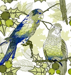 Floral background with parrots vector
