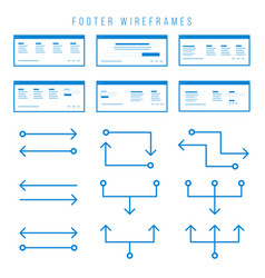 footer wireframe components for prototypes vector image vector image