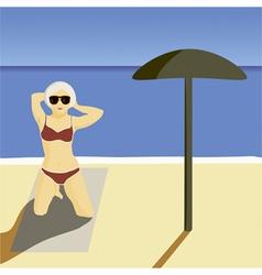 Girl beach vector