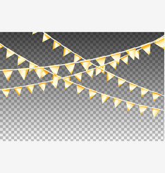 Golden isolated garland with party flags vector
