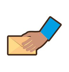 Hand holding mail envelope courier vector