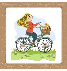 Happy girl on bike vector