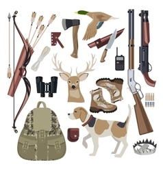 Hunting icon set design elements vector image
