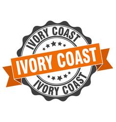 Ivory coast round ribbon seal vector