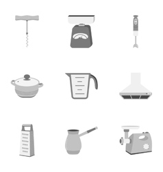 Kitchen set icons in monochrome style big vector