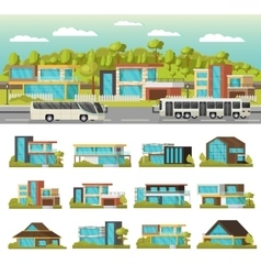 Modern houses composition vector