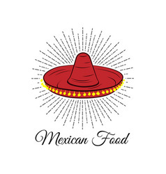 red sombrero mexican food badge isolated on white vector image vector image