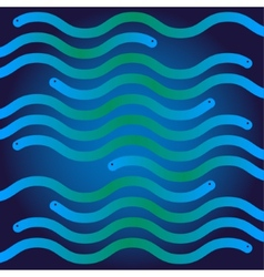 Ripple blue and green snakes like waves vector