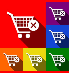 Shopping cart with delete sign set of vector