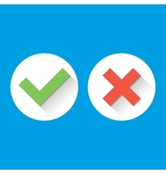 Simple Check Marks icons with long shadows in vector image vector image