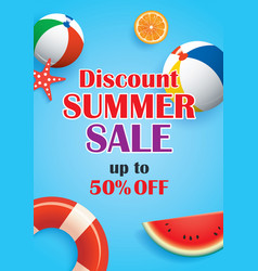 summer sale blue background banner template vector image vector image