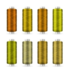 Thread spool set bright plastic bobbin isolated vector