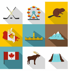 tourism in canada icon set flat style vector image