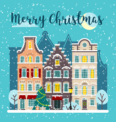 Winter christmas city street landscape vector