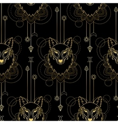 Wolf geometric seamless pattern vector image vector image
