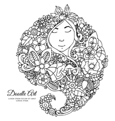 zentangl girl with flowers in vector image vector image