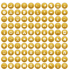 100 kids icons set gold vector