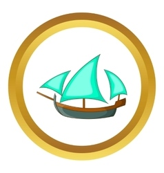 Three sailing wooden ship icon vector