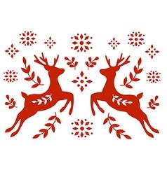 Traditional deer folk motif vector