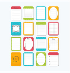 Template for notebooks notes labels stickers vector