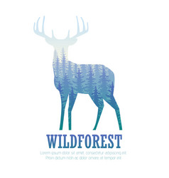 Silhouette of a deer with pine forest blue and vector