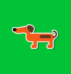 Paper sticker on stylish background dog dachshund vector
