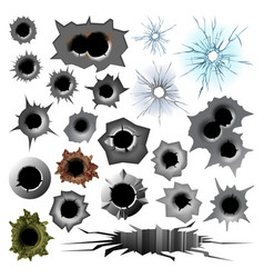 bullet hole track trace sign gunshot crack torn vector image