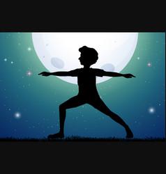 silhouette man doing yoga on fullmoon night vector image