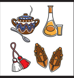 Traditional clothes and food vector