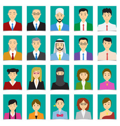 Half body shot people in flat style with green vector