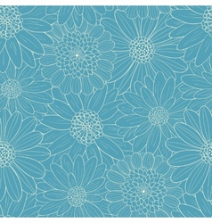 Beautiful line blue flowers vector image
