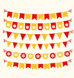 Bunting set red and yellow scrapbook design vector