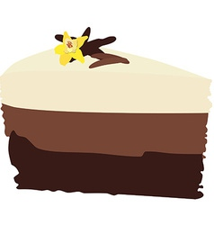 Chocolate cake with vanilla vector