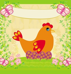 Background with easter eggs and one hen vector