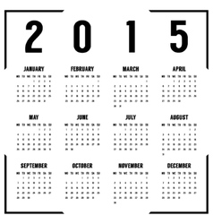 european black and white 2015 year calendar vector image