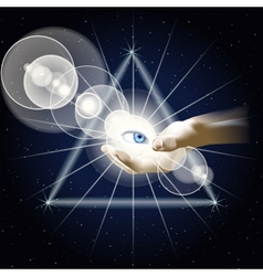 Eye in hand on background triangle vector image