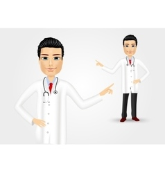Medical doctor pointing at something vector