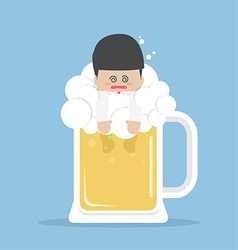 Drunk businessman in beer mug vector
