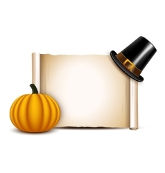 Thanksgiving parchment with pilgrim hat and vector
