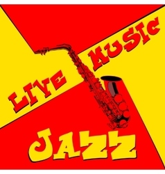Live music saxophone red and yellow vector