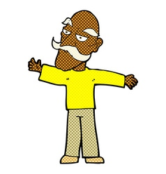 Comic cartoon old man spreading arms wide vector