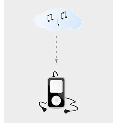 Music device with headphones and cloud vector