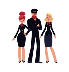 Airline pilot and two flight attendants vector image vector image