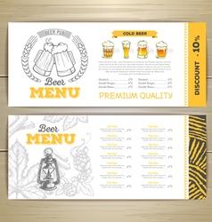 Beer bar menu design vector